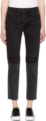 Helmut Lang Black Patchwork High-Rise Crop Jeans