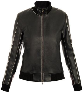 Maison Martin Margiela Exposed-seam leather bomber jacket