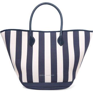 Eddie Harrop - Beacher Leather-trimmed Striped Canvas Tote - Blue