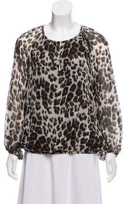 Diane von Furstenberg Chiffon Leopard Print Blouse