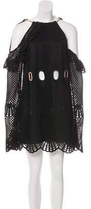 Self-Portrait Crocheted Cold-Shoulder Mini Dress