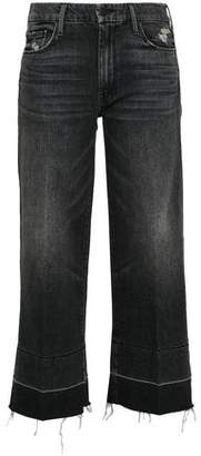 Mother Cropped Distressed High-rise Tapered Jeans