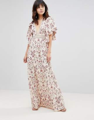 Asos DESIGN Floral Wallpaper Maxi Dress with Broderie Trim