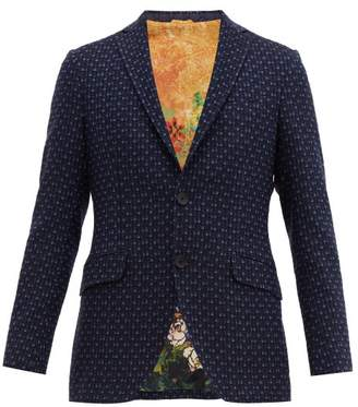 Etro Cotton Blend Jacquard Blazer - Mens - Blue