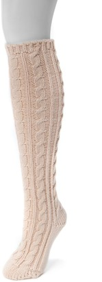 Muk Luks Women's Solid Cable-Knit Knee-High Socks