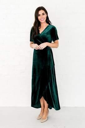 Everyday ShopRachel Parcell Evergreen Velvet Wrap Dress