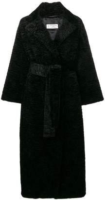 Alberto Biani astrakan belted coat