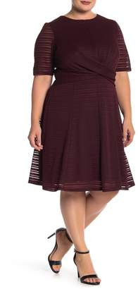 London Times Wrap Waist Fit & Flare Dress (Plus Size)