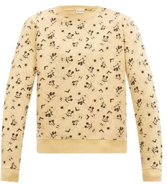 Saint Laurent Mickey Print Cotton Sweatshirt - Mens - Yellow