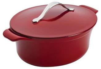 Anolon Vesta 4 Quart 3.8 Litre 27Cm Paprika Red Oval Covered Cast Iron Casserole