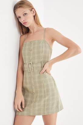 Urban Outfitters Belted Gingham Button-Down Mini Dress