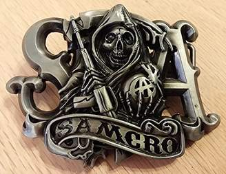 CYJY Ecom Sons of Anarchy SAMCRO Reaper with Banner Die Cast Metal Belt Buckle