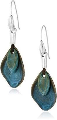 Robert Lee Morris Layered Sculptural Patina Drop Earrings by