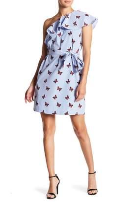 Donna Morgan One-Shoulder Butterfly Ruffle Dress