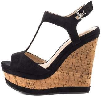 MERUMOTE Women's Open Toe T-Strap High Heeled Wedges Sandals Platform Heels Shoes Suede 7 US