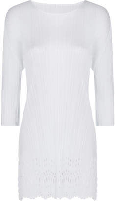 Pleats Please Issey Miyake Sheer Lace Midi Laser Top