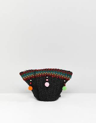 Asos DESIGN Mini Straw Cross Body With Pom Pom Detail