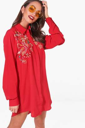 boohoo Embroidered Shoulder Woven Shirt Dress