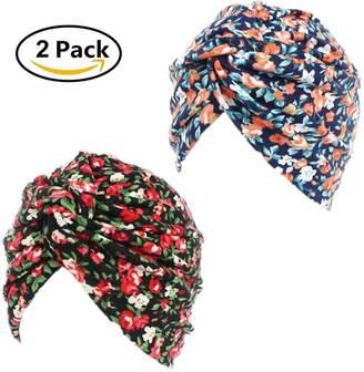 styling/ STEVE YIWU Printed Twist Pleated Hair Wrap Sleep Turban Hat Stretch Turban Chemo Hat Soft Cancer Beanie