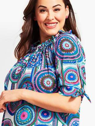 Talbots Plus Size Exclusive Off-The-Shoulder Top-Island Turquoise Medallion