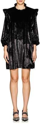 Opening Ceremony Women's Metallic-Striped Velvet Ruffled Dress