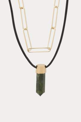 Isabel Marant Brass and lamb leather necklace