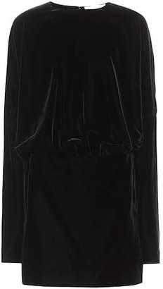 Saint Laurent Gathered velvet minidress