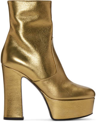 Saint Laurent Gold Platform Candy Boots