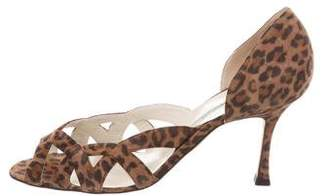 Brian Atwood Animal Print Suede Sandals