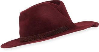 Eugenia Kim Giovanna Snakeskin-Band Fedora Hat, Wine