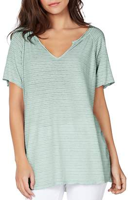 Michael Stars Striped Split-Neck Tee