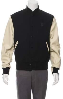 Shinola Leather-Accented Wool Bomber Jacket w/ Tags black Leather-Accented Wool Bomber Jacket w/ Tags