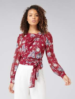 Forever New Courtney Wrap Tie Waist Top - RED VINTAGE FLORAL - 4