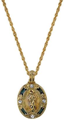 "Symbols of Faith 14K Gold-Dipped Crystal Blue Enamel Virgin Mary Pendant Necklace 18"""