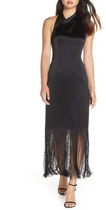 Jill Stuart Fringed Tea Length Cocktail Dress