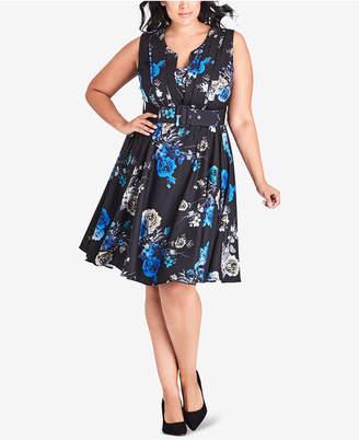 City Chic Trendy Plus Size Floral-Print Sleeveless A-Line Dress