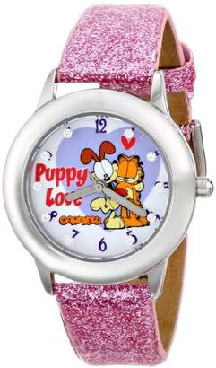 EWatchFactory Garfield Kids' W000610 Tween's Glitz Stianless Steel Purple Glitter Leather Strap Watch