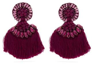 Etro Crystal Embellished Fringed Clip On Earrings - Womens - Pink
