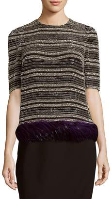 Dries Van Noten Women's Silk Striped Feather-Trim Top
