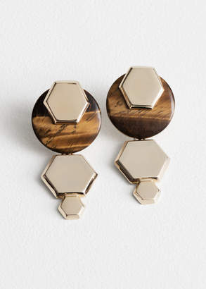 And other stories Hexagon Tigers Eye Earrings