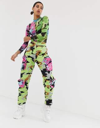 Jaded London denim cargo pants with contrast pockets in camo print