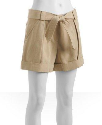 Diane Von Furstenberg sand silk-blend twill 'Lawless' belted shorts