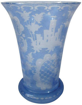 One Kings Lane Vintage Ice Blue Bohemian Etched Vase