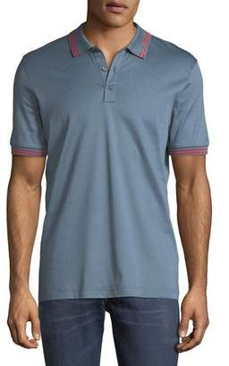 Salvatore Ferragamo Men's Cotton Pique Polo Shirt w/ Gancini Detail