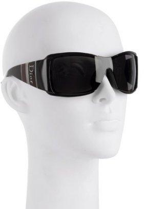 Christian Dior black 'Dior Stripes' shield sunglasses