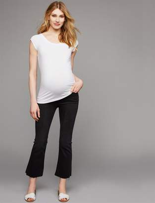 Frame Secret Fit Belly Le Crop Mini Boot Raw Edge Maternity Jeans