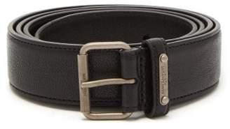 Saint Laurent Logo Engraved Leather Belt - Mens - Black
