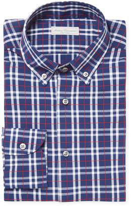 Antica Camiceria Plaid Embroidered Button-Down Collar Dress Shirt