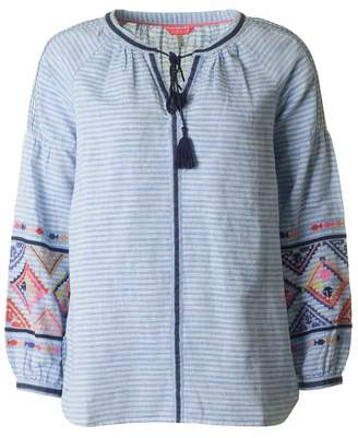 Joules Long Sleeved Embroidered Blouse Colour: BLUE, Size: 10