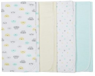 Gerber Assorted Flannel Receiving Blankets, 4pk (Baby Boy or Baby Girl Unisex)